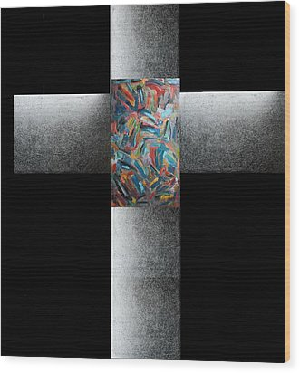 Wood Print featuring the painting C by Radoslaw Zipper