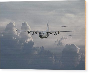 C130 Hecules    In Trail Wood Print