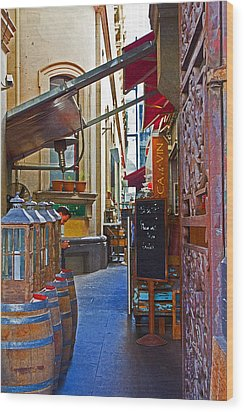 Ca De Vin Wood Print by Mamie Thornbrue