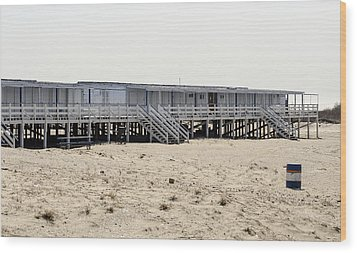Cabanas Breezy Point Surf Club Wood Print by Maureen E Ritter