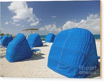 Cabanas On The Beach Wood Print by Amy Cicconi