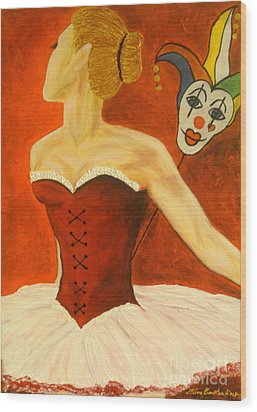 Cabaret Ballerina Wood Print by Elena  Constantinescu