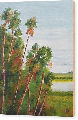 Cabbage Palms Wood Print