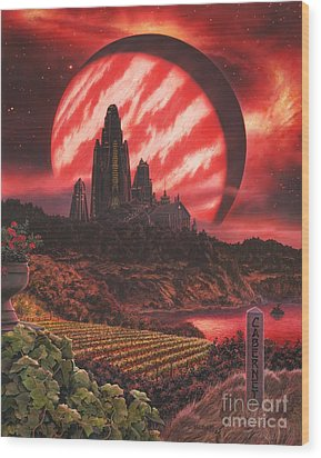 Cabernet Wine Country Fantasy Wood Print by Stu Shepherd