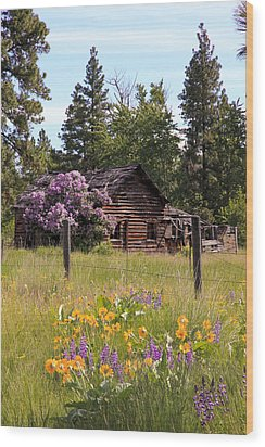 Cabin And Wildflowers Wood Print by Athena Mckinzie
