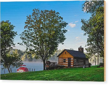 Cabin At The Lake Wood Print by Brian Stevens