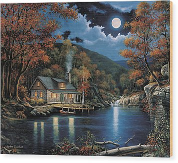 Cabin By The Lake Wood Print by John Zaccheo