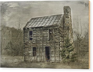 Cabin By The Track Series II Wood Print by Kathy Jennings