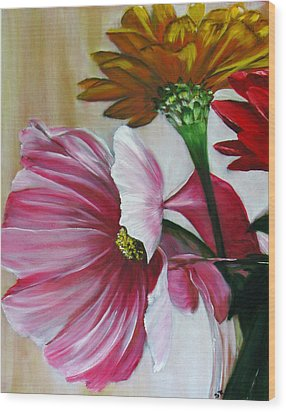 Cabin Flowers Wood Print by Sherry Robinson