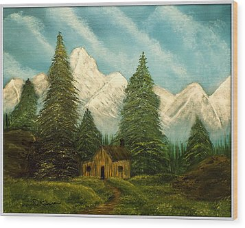 Cabin Getaway Wood Print by Joyce Krenson