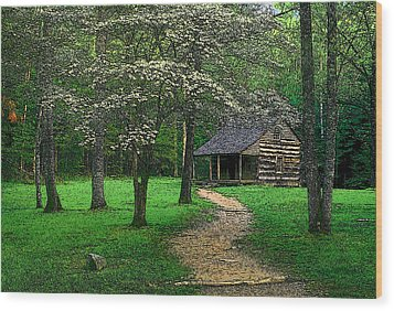 Wood Print featuring the photograph Cabin In Cades Cove by Rodney Lee Williams