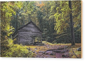 Wood Print featuring the photograph Cabin In The Mountains by Gina Cormier
