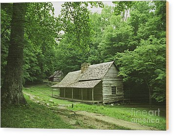 Cabin In The Smokey Mtns Wood Print