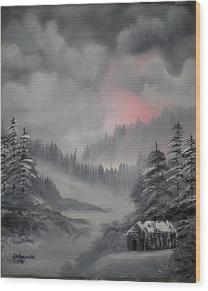 Cabin In The Winter Forset Wood Print by James Waligora