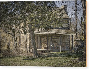 Cabin In The Wood Wood Print by Heather Applegate