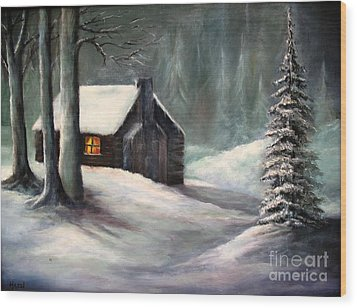 Wood Print featuring the painting Cabin In The Woods by Hazel Holland