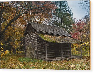 Cabin In The Woods Wood Print by Jim McCain