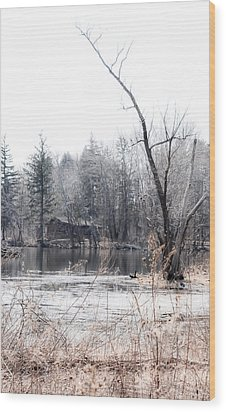 Cabin In The Woods Wood Print by Julie Palencia