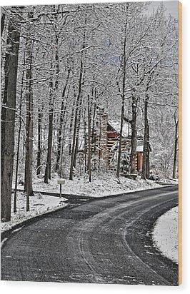 Cabin In The Woods Wood Print by Lara Ellis