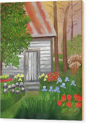 Wood Print featuring the painting Cabin In The Woods by Margaret Harmon