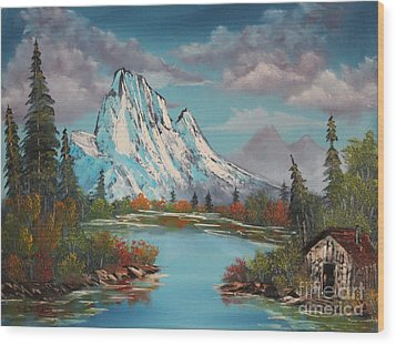 Cabin On The Lake Wood Print by Bob Williams