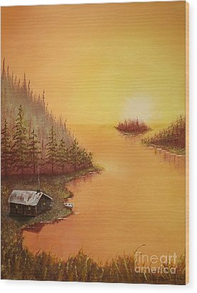 Cabin On The Lake Wood Print