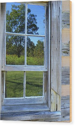 Wood Print featuring the photograph Cabin Reflections by Larry Bishop