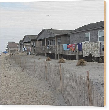 Wood Print featuring the photograph Cabins On Buxton Beach by Cathy Lindsey