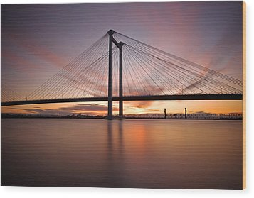 Wood Print featuring the photograph Cable Bridge by Ronda Kimbrow