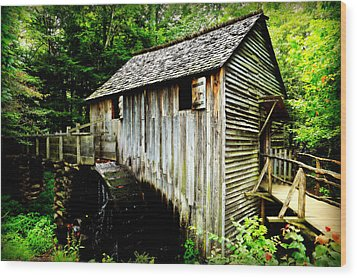 Cable Mill - Cades Cove Wood Print by Stephen Stookey