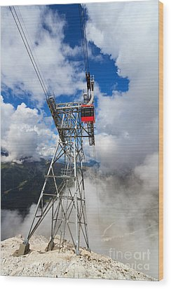 cableway in Italian Dolomites Wood Print by Antonio Scarpi