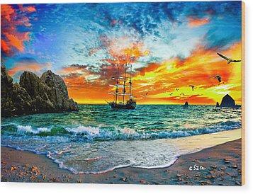 Cabo San Lucas-fantasy Pirate Ship-sailing Sunset Wood Print by Eszra Tanner