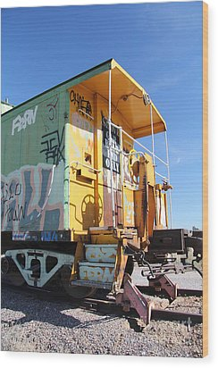 Caboose Wood Print by Diane Greco-Lesser