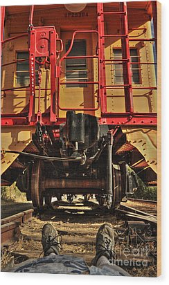 Caboose On The Loose Wood Print by James Eddy