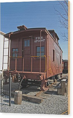 Caboose Wood Print by Skip Willits