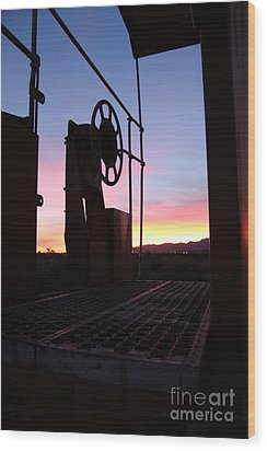 Caboose Waiting Til Dawn Wood Print by Diane Greco-Lesser