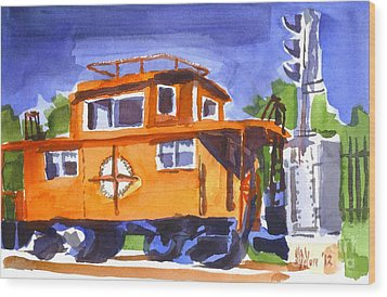 Caboose With Silver Signal Wood Print by Kip DeVore