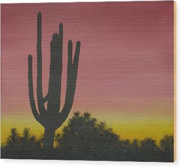 Cactus At Dawn Wood Print by Aaron Thomas