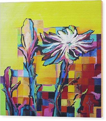 Cactus Blossom Wood Print by Jodie Marie Anne Richardson Traugott          aka jm-ART