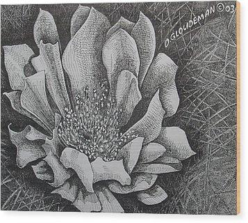 Cactus Flower Wood Print by Denis Gloudeman