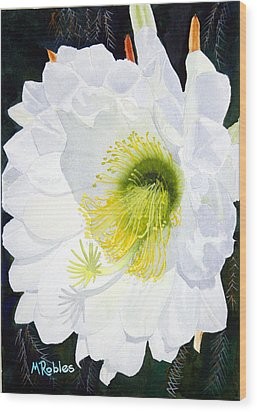 Cactus Flower II Wood Print by Mike Robles