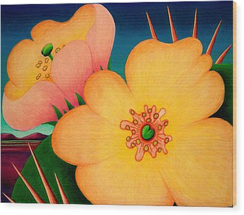 Cactus Flower Wood Print by Richard Dennis