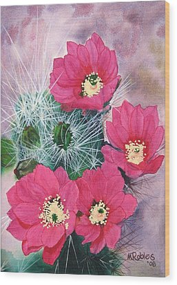 Cactus Flowers I Wood Print by Mike Robles