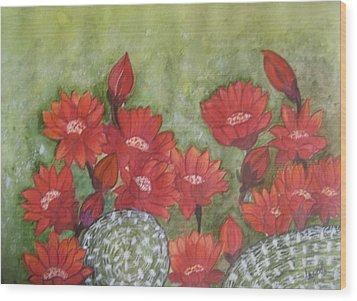 Cactus Flowers Wood Print by Usha Rai