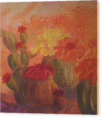 Cactus Garden - Square Format Wood Print by Ellen Levinson