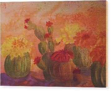 Cactus Garden Wood Print by Ellen Levinson