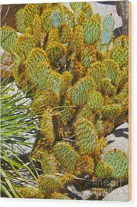 Cactus Wood Print by Gregory Dyer