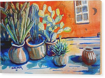 Cactus In Pots Wood Print