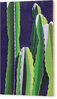 Cactus In The Desert Moonlight Wood Print
