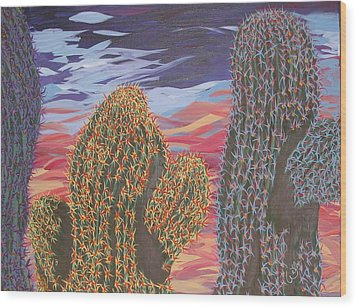 Cactus Of Color 1 Wood Print by Marcia Weller